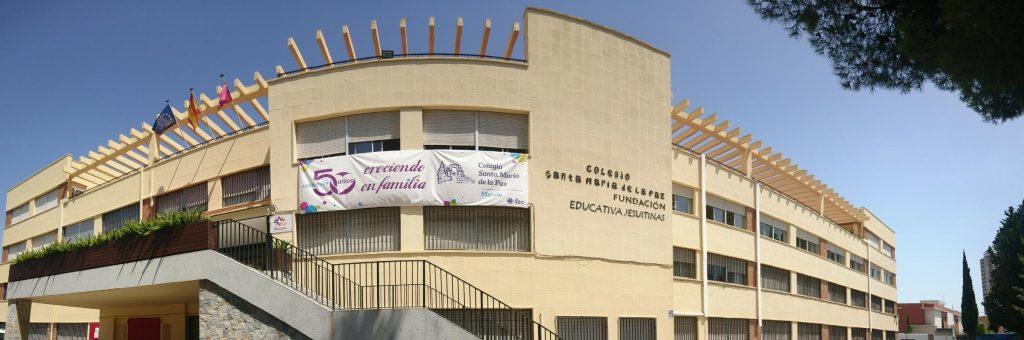 Bienvenida al curso 2020-21. Imagen de la fachada del colegio Santa María de la Paz (Jesuitinas Murcia), que este curso se incorporan a la Fundación Educativa Jesuitinas